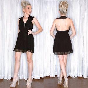 Black Halter Date Night Mini Dress